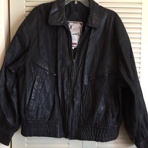 Leather Bomber Jacket Mens XL Black Full Zip